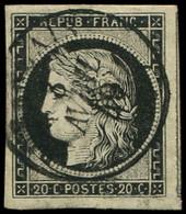 EMISSION DE 1849 - 3a   20c. Noir Sur Blanc, Obl. Càd T15 Du 8/4/49, TB - 1849-1850 Ceres