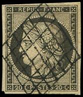 EMISSION DE 1849 - 3c   20c. GRIS-NOIR, Obl. GRILLE, TTB, Certif. Calves - 1849-1850 Ceres