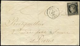 Let EMISSION DE 1849 - 3    20c. Noir Sur Jaune Obl. GRILLE S. LAC Locale, Càd PARIS 7/12/49, Affranchissement Volontair - 1849-1876: Periodo Classico