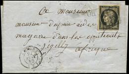 Let EMISSION DE 1849 - 3    20c. Noir Sur Jaune Obl. GRILLE S. LAC, Càd T15 CHAUNY 22/1/50, Arr. DJIDJELI 2/2, TB - 1849-1876: Periodo Classico