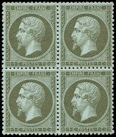 ** EMPIRE DENTELE - 19    1c. Olive, BLOC De 4, Un Ex. *, Fraîcheur Postale, TTB - 1862 Napoleon III