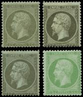 * EMPIRE DENTELE - 19 Et 20, 1c. Olive, 3 Nuances Et 5c. Vert, TB - 1862 Napoleon III