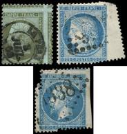 EMPIRE DENTELE - 19, 22 Et 60C, 1c. Olive, 20c. Bleu Et 25c. Bleu, Tous Avec Variété De PIQUAGE, Obl., TB - 1862 Napoleon III