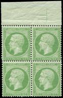 ** EMPIRE DENTELE - 20    5c. Vert, BLOC De 4 Bdf Avec CROIX De REPERE, Inf. Ch. S. Paire Inf., Très Frais Et TTB - 1862 Napoleon III