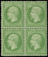 ** EMPIRE DENTELE - 20    5c. Vert, BLOC De 4, 2 Ex. *, Frais Et TB - 1862 Napoleon III