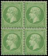 ** EMPIRE DENTELE - 20g   5c. Vert-jaune S. Verdâtre, BLOC De 4, Fraîcheur Postale, Superbe - 1862 Napoleon III