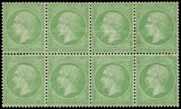 * EMPIRE DENTELE - 20    5c. Vert, BLOC De 8, Bon Centrage, TB - 1862 Napoleon III