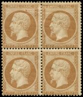 * EMPIRE DENTELE - 21b  10c. Bistre-brun, BLOC De 4, 1 T. Avec Petites Rousseurs, Sinon Frais, Jolie Nuance, TB - 1862 Napoleon III