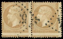 EMPIRE DENTELE - 21   10c. Bistre, PAIRE Piquage A CHEVAL, Obl. GC, TB - 1862 Napoleon III