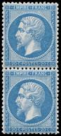 ** EMPIRE DENTELE - 22   20c. Bleu, PAIRE Très Bien Centrée, TTB - 1862 Napoleon III