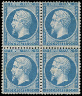 ** EMPIRE DENTELE - 22   20c. Bleu, BLOC De 4, Fraîcheur Postale, TTB/Superbe - 1862 Napoleon III