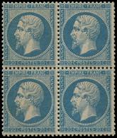 ** EMPIRE DENTELE - 22   20c. Bleu, BLOC De 4, Frais Et TB - 1862 Napoleon III