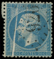 EMPIRE DENTELE - 22   20c. Bleu, PLI ACCORDEON, Obl. GC 926, TB. C - 1862 Napoleon III