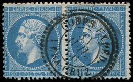 EMPIRE DENTELE - 22   20c. Bleu PAIRE Obl. Càd CORPS EXPED. VERA CRUZ 7/66, TTB - 1862 Napoleon III