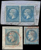 EMPIRE DENTELE - 22   20c. Bleu, PAIRE Obl. Roulette De POINTILLES S. Fragt + N°29B (2) Obl. Càd Rouge PARIS/SC, TB - 1862 Napoleon III