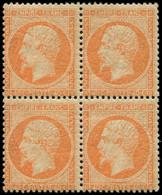 ** EMPIRE DENTELE - 23   40c. Orange, BLOC De 4, 2 Ex. *, TB - 1862 Napoleon III