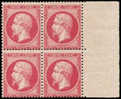 ** EMPIRE DENTELE - 24   80c. Rose, BLOC De 4 Bdf, 2 Ex. *, Fraîcheur Postale, TTB - 1862 Napoleon III