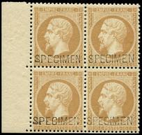 ** EMPIRE DENTELE - S21c 10c. Bistre, BLOC De 4 Surch. SPECIMEN, La Paire Sup. *, Fraîcheur Postale, TTB - 1862 Napoleon III