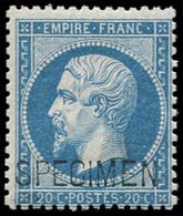 ** EMPIRE DENTELE - S22d 20c. Bleu, SPECIMEN, TB. C - 1862 Napoleon III