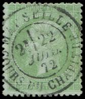 EMPIRE LAURE - 35    5c. Vert Pâle Sur Bleu, Obl. Càd T17 MARSEILLE 22/6/72, TB/TTB - 1862 Napoleon III