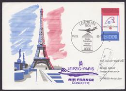 "Mi-Nr. P 102, Luftpost Nach Paris, Sonderflug ""Concorde"", Leipzig- Paris, Alle Stempel - Postcards - Used"