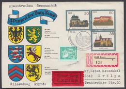"""Mi-Nr. U1 C2, Dek. Umschlag """"Wappen Ranis"""", Mit Zusatzfr. Als R- Eilboten Mit Ankunft - Sobres - Usados"""