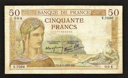 """50 Francs """" CERES""""    4   11   1937 TTB - 50 F 1934-1940 ''Cérès''"""