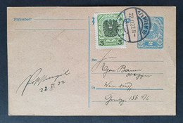 Österreich 1922, Postkarte MiF WIEN - Covers & Documents