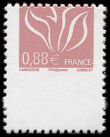 ** VARIETES - 4155   Lamouche, 0,88 Lilas-brun Clair, PIQUAGE à CHEVAL, Timbre à MOITIE Imprimé, TB - Abarten: 2000-09 Ungebraucht