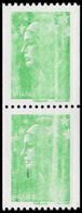 ** VARIETES - 4239   Beaujard, TVP Vert De Roulette, PAIRE Verticale, Impr. DEFECTUEUSE, TB - Abarten: 2000-09 Ungebraucht
