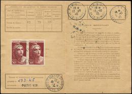 Let LETTRES DU XXe SIECLE - N°732 PAIRE Obl. R.P./AFFRANCHISSEMENTS 1/10/45 S. Carte D'Abonnement Aux Timbres-Poste, TB - Lettres & Documents