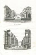 Antique Engraving 1835 Switzerland Swiss Geneva Architecture Rue De La Corraterie Rue Basses Rue Du Molard - Prenten & Gravure