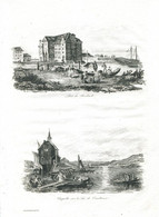 Antique Engraving 1835 Switzerland Swiss Port Rorschach Architecture Port Constance Germany Fisherman Sail Boat - Prenten & Gravure