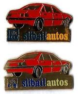 CREDIT LYONNAIS - SLIBAIL AUTOS - 2 Pin's Couleurs Différentes - Verso :PRODUC'BAG / SM - Banks