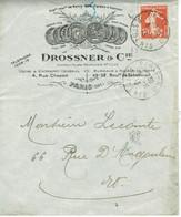134 Semeuse Camée 10 C. Rouge De Paris 40 Du 6-11-1913 Enveloppe DROSSNER Et Cie Médailles - 1906-38 Semeuse Con Cameo