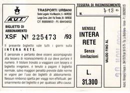 B 3732 -  Biglietto Di Viaggio, Varese, AVT - Europe