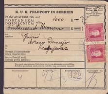 Austria K.u.K. Feldpost In Serbien Postanweisung, K.U.K. Etappenpostamt BELGRADE 1918 KRAGUJEVAC - Serbia