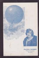 CPA Aviation Montgolfière Ballon Rond Non Circulé Aérostation Femme Women Aviatrice Paulette Weber - Balloons