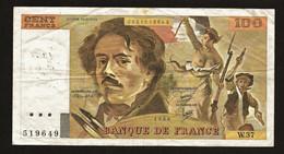 """100 Francs """"DELACROIX""""     1980    TTB - 100 F 1978-1995 ''Delacroix''"""