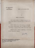 Document Dactylographié Signé. René COTY ,signature Manuscrite. Envoi à Madame La Maréchale Leclerc De Hauteclocque.1955 - Autografi