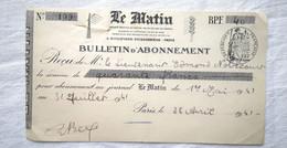 Bulletin D'Abonnement 1941 Journal LE MATIN Boulevard Poissonière Paris - Unclassified