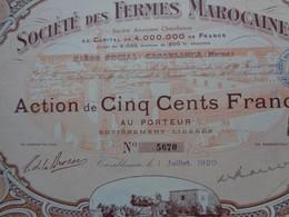 MAROC - CASABLANCA 1920 - STE DES FERMES MAROCAINES - ACTION DE 500 FRS - Non Classés