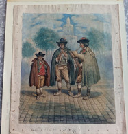 Dipinto Acquarellato A Mano D'epoca NATALE: Gruppo Di Zampognari 1860 Firmato Birtrand Lato Dx (D46) - Prenten & Gravure