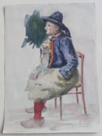 Dipinto Acquarellato A Mano D'epoca NATALE: Zampognaro Seduto Fine '800 (D47) - Prenten & Gravure