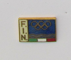 1 Pin's JEUX OLYMPIQUES/J.O - F.I.N. (Federazione Italiana Nuoto - Fédération Italienne De Natation) Signé BERTONI - Giochi Olimpici