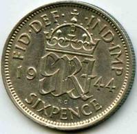 Grande Bretagne Great Britain 6 Pence 1944 Argent KM 852 - H. 6 Pence