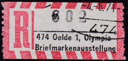 Sonder R Zettel,  474 Oelde 1, Olympia Briefmarkenausstellung, NEZ.  Nr. 602, - R- & V- Vignetten