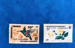 COMORES 1975 2 V Neuf ** MNH YT  106 107 Oiseau Colibri Fleur Bird And Flower COMOROS KOMOREN - Comores (1975-...)
