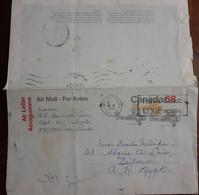 Canada  - Postal Stationery - Airmail - TO EGYPT - Aéreo