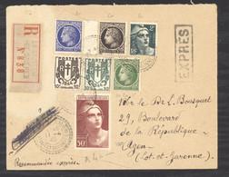 L  188  -  France   :   Yv  732  (o)   Sur Lettre Recommandée Exprès De La Sauvetat De Savères - Lettres & Documents